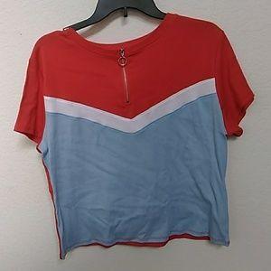 Red,  white,  blue shirt